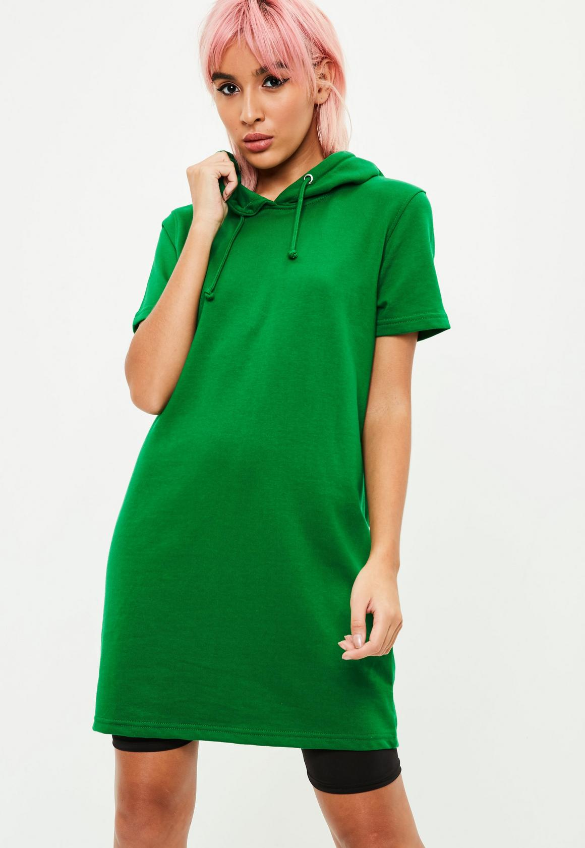 Green Short Sleeve Hooded Sweater Dress | Missguided Ireland