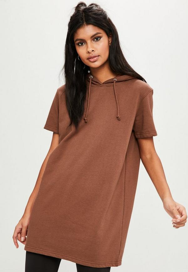 Brown Short Sleeve Hooded Sweat Dress by Missguided