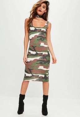 Khaki Camo Sleeveless Midi Dress