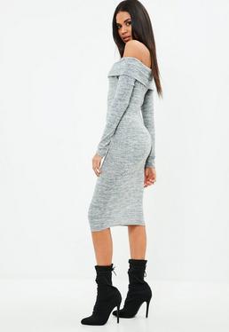 Gray Marl Foldover Bardot Long Sleeve Midi Dress