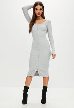 Grey Long Sleeve Ribbed Popper Midi Dress
