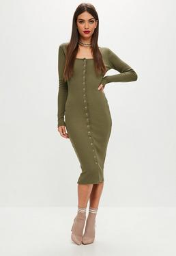 Khaki Popper Midi Dress