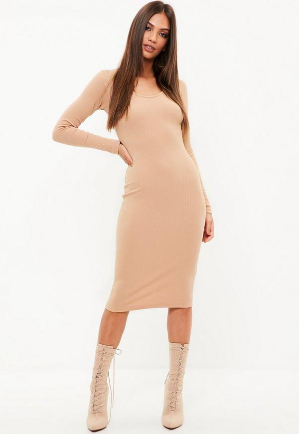 4e955d7445 Nude Slinky High Neck Bodycon Dress Missguided | 2019 trends | xoosha