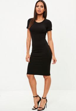 Vestido midi de canalé en negro