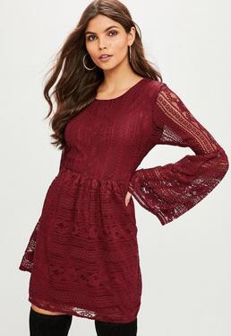 Burgundy Lace Skater Dress