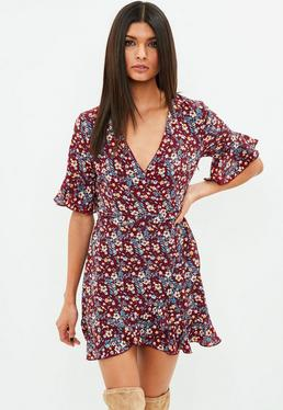 Burgundy Short Sleeve Printed Tea Dress