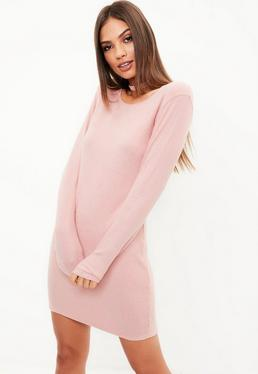 Pink Long Sleeved Brushed Ribbed Bodycon Dress