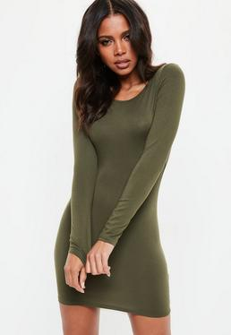 Khaki Long Sleeve Plain Bodycon Mini Dress