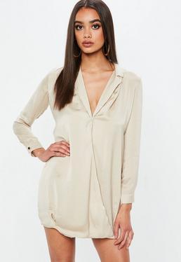 Camel Cross Over Wrap Shirt Dress