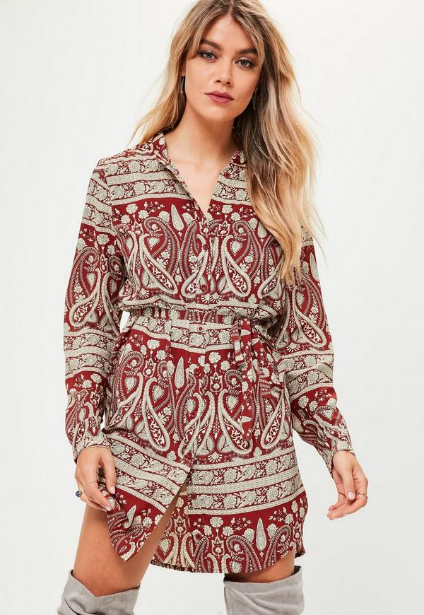 red paisley print shirt dress missguided