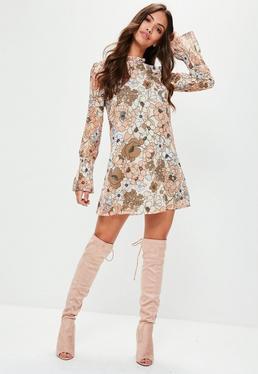Nude Retro Print Elasticated Sleeve Dress