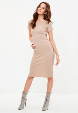 Nude Short Sleeve Ribbed Midi Dress