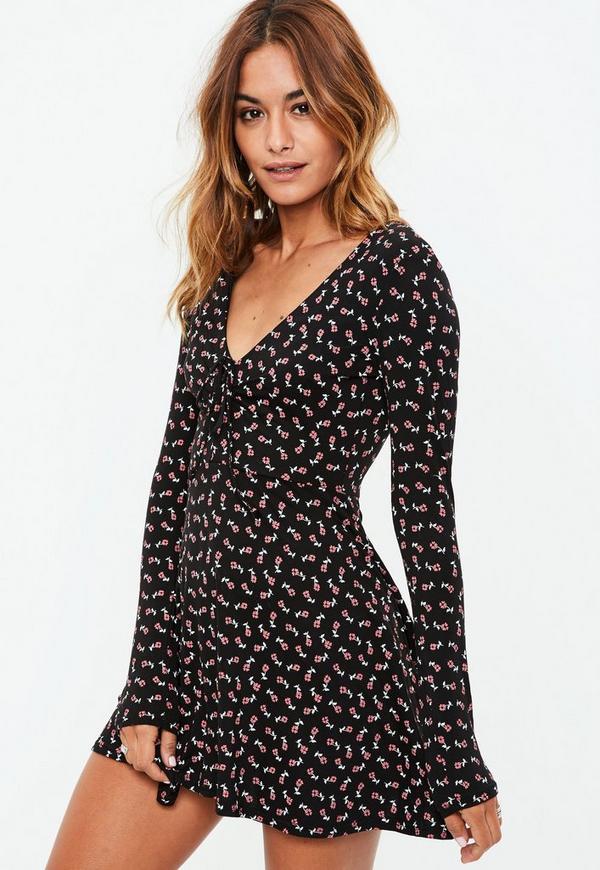Black Long Sleeve Floral Wrap Jersey Tea Dress Missguided