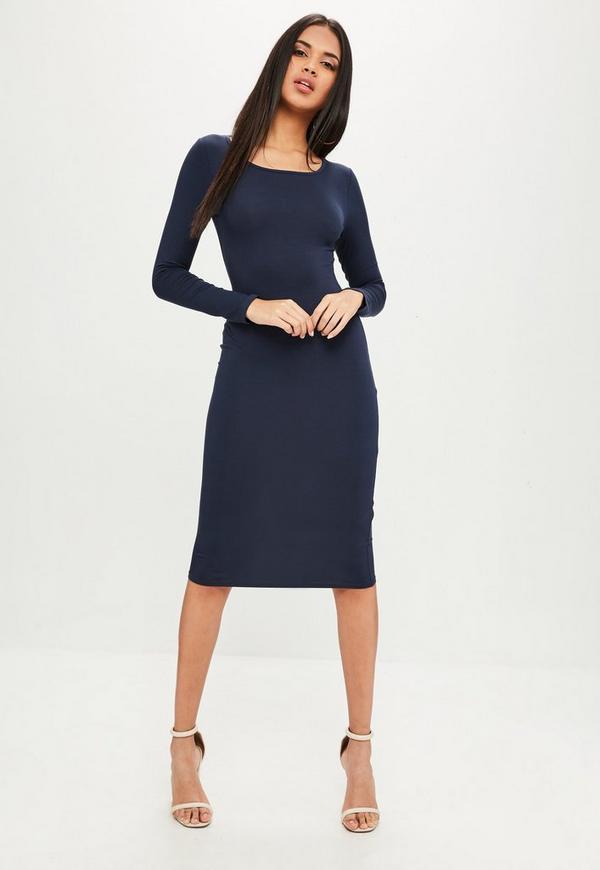 Navy Plain Midi Dress | Missguided Ireland