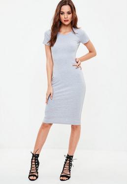 Gray Short Sleeve Ribbed Midi Dress
