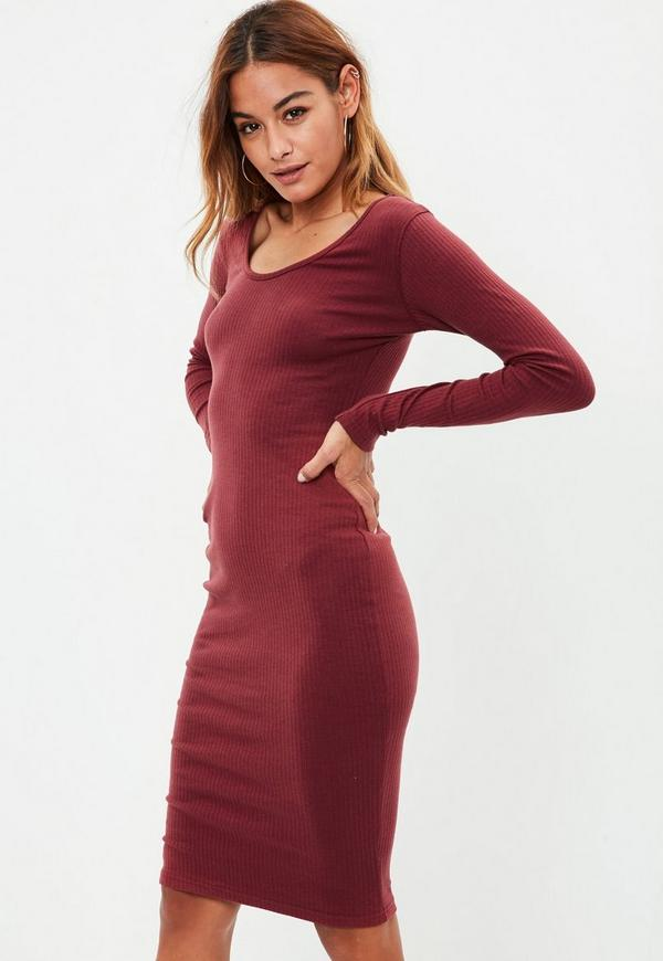 Burgundy Long Sleeved Midi Dress | Missguided
