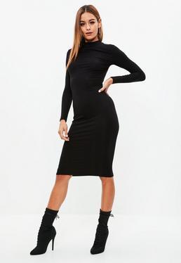 Black High Neck Bodycon Midi Dress