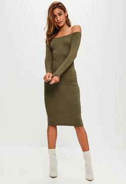 Khaki Bardot Midi Dress