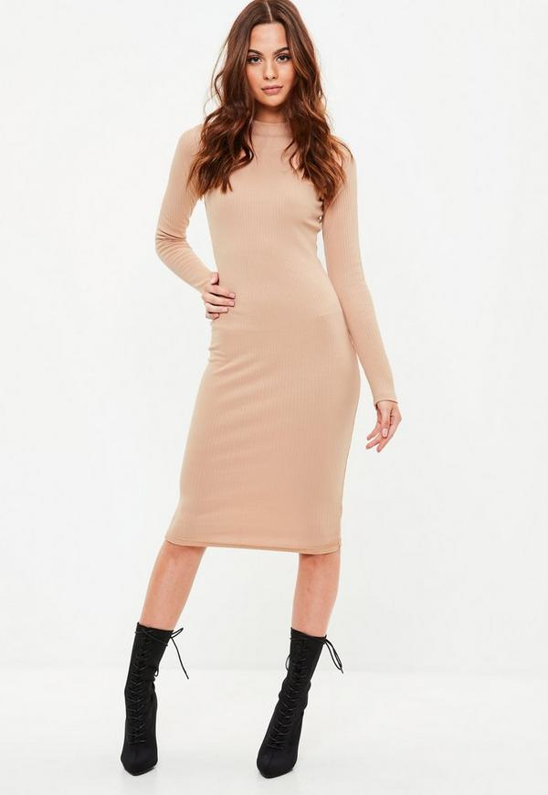 227fb72bd61a4 Brown Knitted Midi Skater Dress Missguided | 2019 trends | xoosha