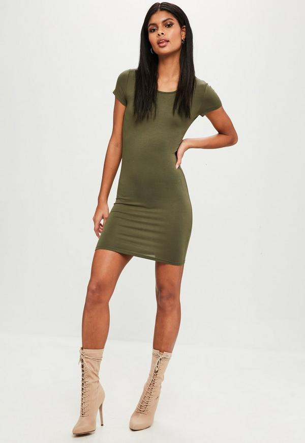 Khaki Short Sleeve Bodycon Mini Dress | Missguided