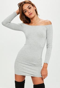 Gray Bardot Mini Dress