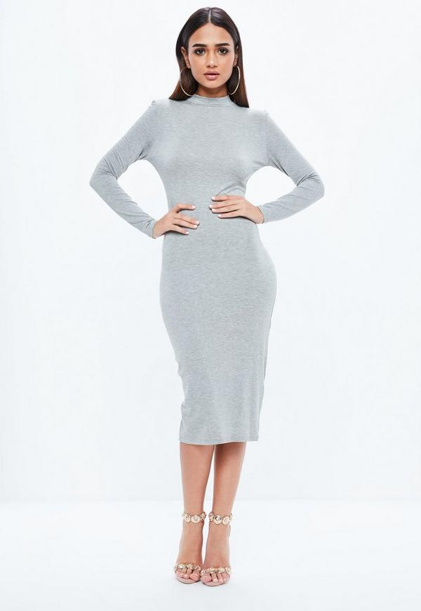 Dress uk bodycon long sleeve midi size