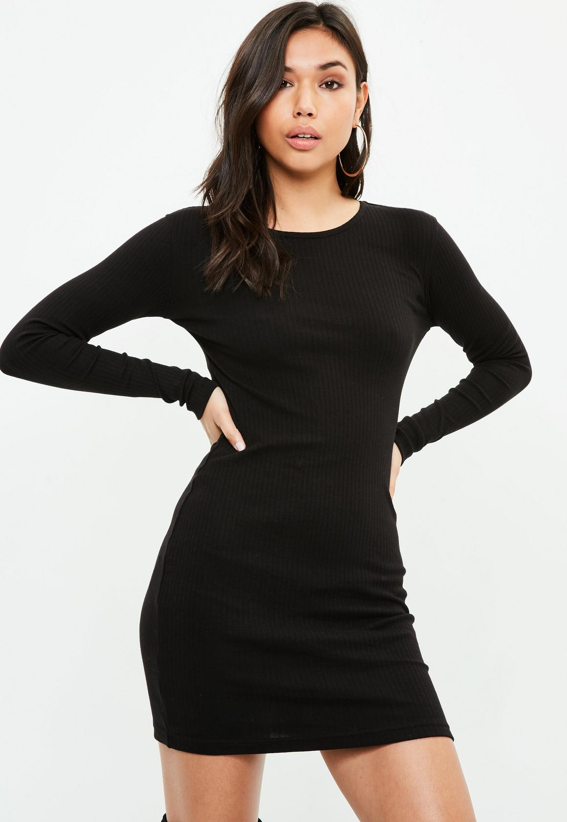 Black Long Sleeved Ribbed Mini Dress | Missguided