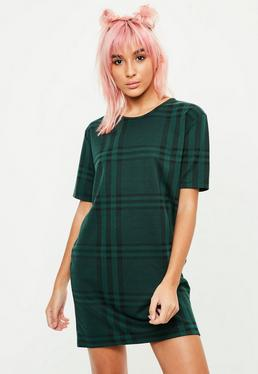 Green Short Sleeve Checked T-Shirt Dress