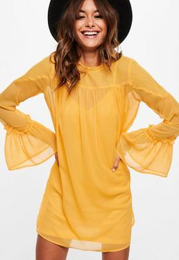 Yellow Dobby Mesh Shift Dress