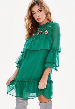 Zielona luźna warstwowa sukienka mini