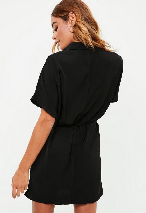 black sleeve tie belt shirt dress missguided ireland