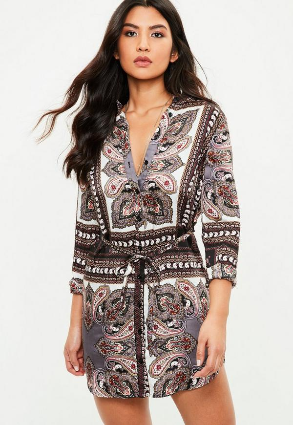 Black Paisley Shirt Dress Missguided