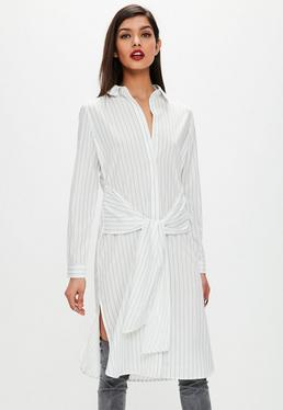 White Collarless Tie Waist Midi Stripe Shirt Dress