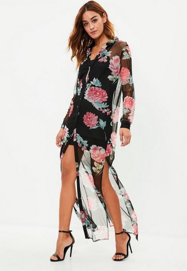 Black Floral Print Maxi Shirt Dress Missguided
