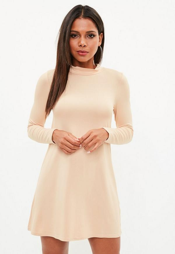 Nude Roll Neck Long Sleeve Swing Dress by Missguided