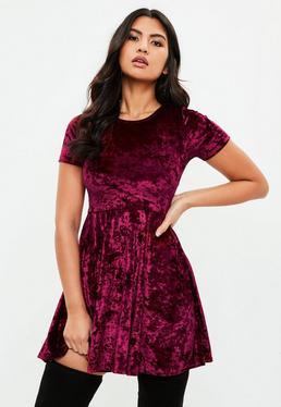 Burgundy Crushed Velvet Short Sleeve Skater Dress