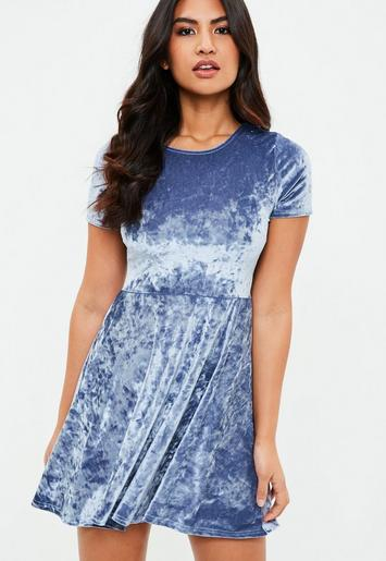 Blue Crushed Velvet Short Sleeve Skater Dress | Missguided