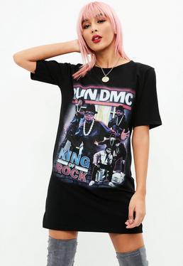 Black Run DMC Print Tshirt Dress