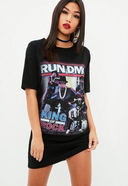 Black Run Dmc Portrait Oversized T Shirt Dress