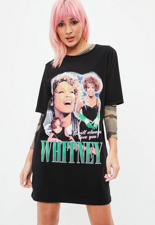 whitney black white. Black Whitney Houston Over Sized T Shirt Dress White P