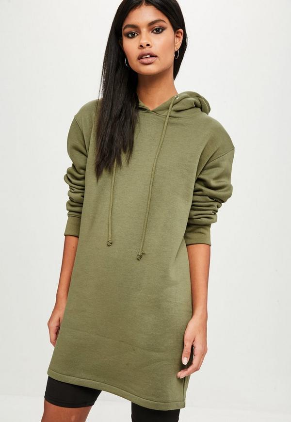 Khaki Long Sleeve Hooded Sweater Dress Missguided
