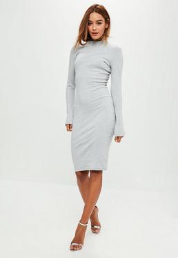 Grey High Neck Midi Dress