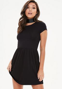 Black Short Plain Skater Dress