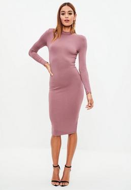 Fioletowa dopasowana sukienka midi