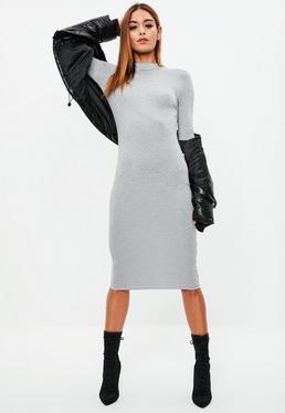 Gray High Neck Midi Dress