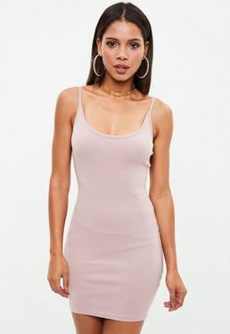 Nude Strappy Ribbed Mini Dress