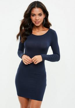 Navy Long Sleeve Bodycon Mini Dress