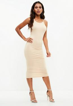 Nude Racer Neck Bodycon Mini Dress