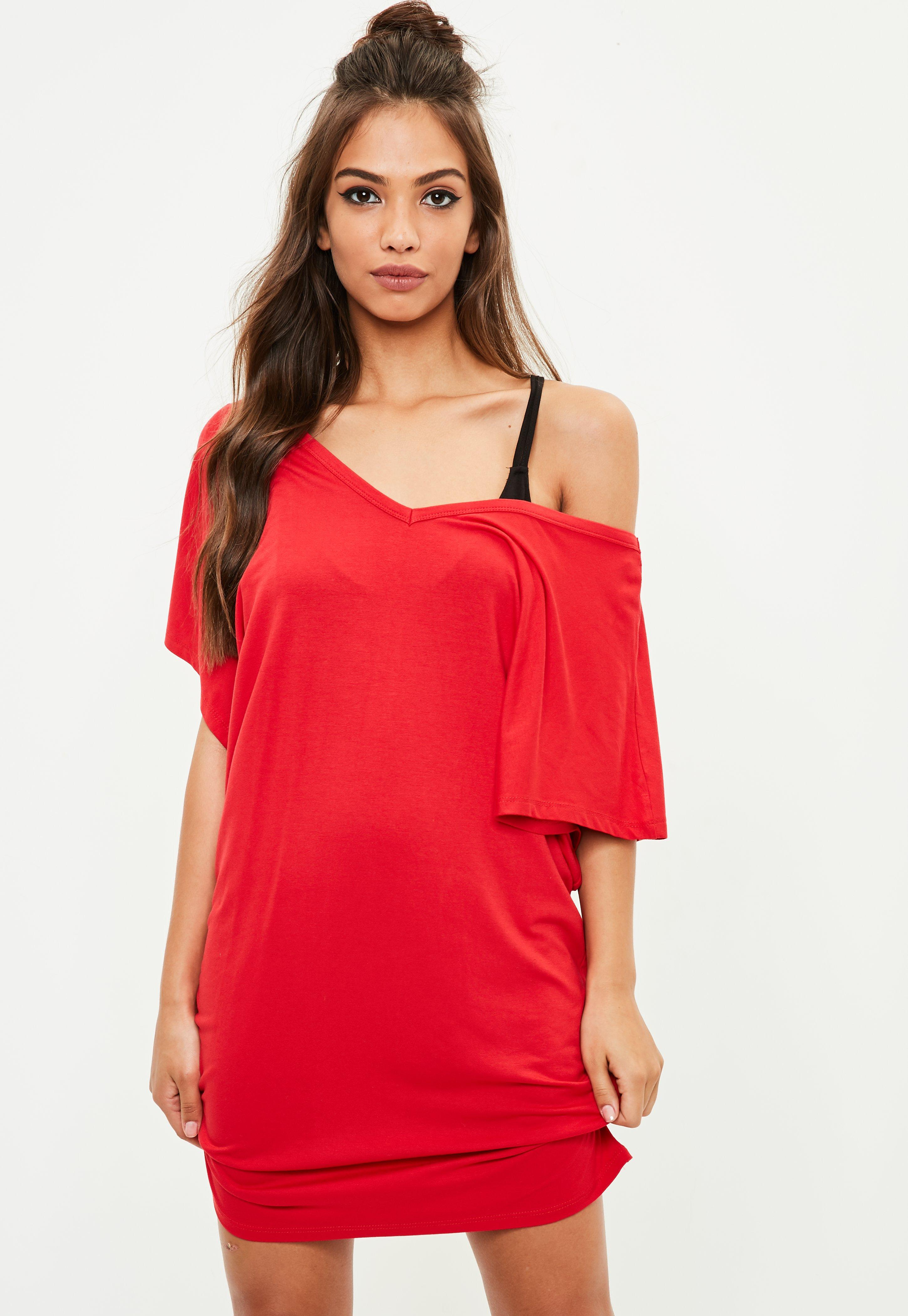 Best Selling V Back T-Shirt Dress - Red Missguided For Cheap Discount XE3fa