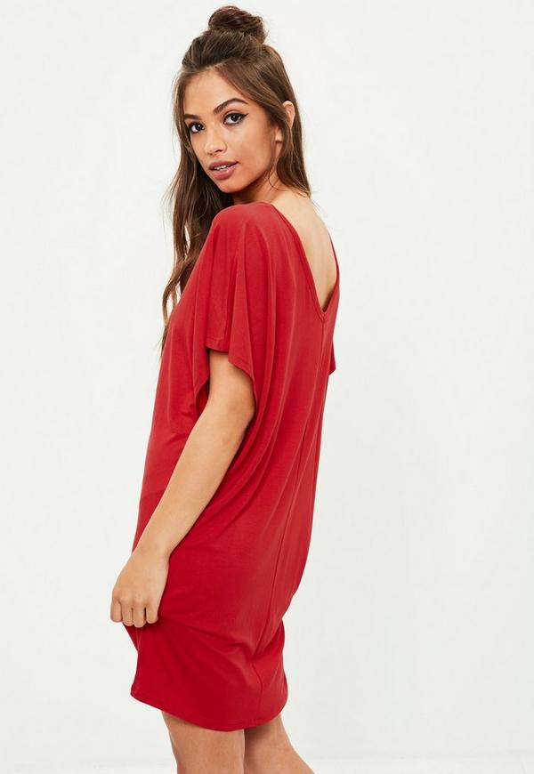 Cheap red t shirt dress